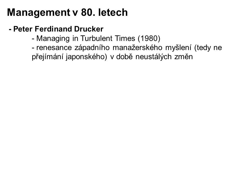 - Peter Ferdinand Drucker - Managing in Turbulent Times (1980) - renesance západního manažerského myšlení (tedy ne přejímání japonského) v době neustá