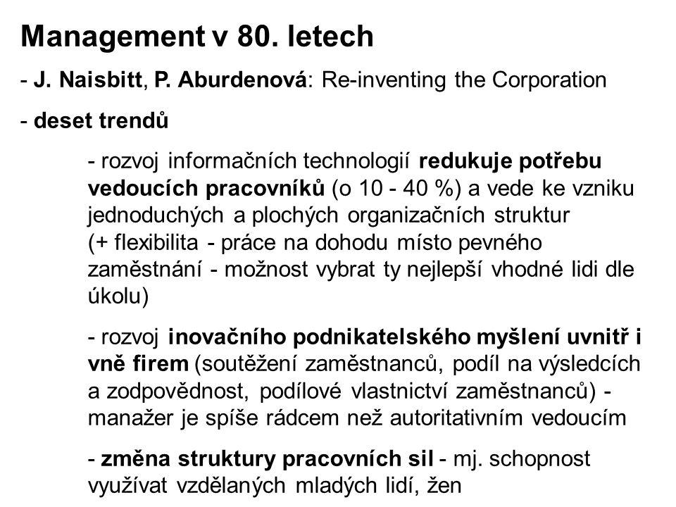 - J. Naisbitt, P. Aburdenová: Re-inventing the Corporation - deset trendů - rozvoj informačních technologií redukuje potřebu vedoucích pracovníků (o 1