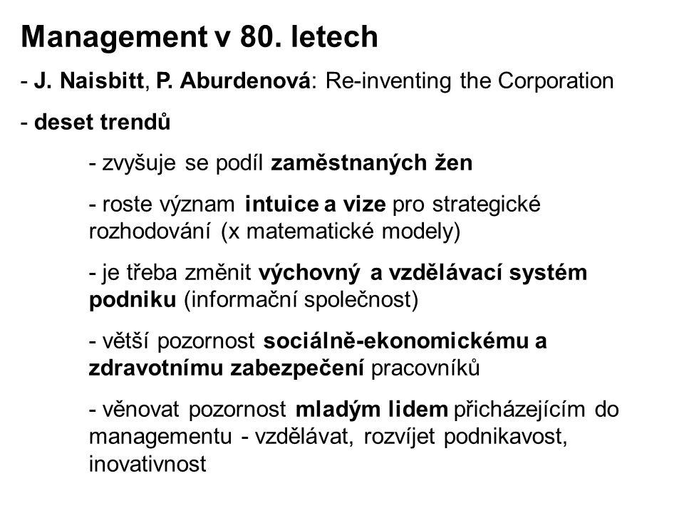 - J. Naisbitt, P. Aburdenová: Re-inventing the Corporation - deset trendů - zvyšuje se podíl zaměstnaných žen - roste význam intuice a vize pro strate