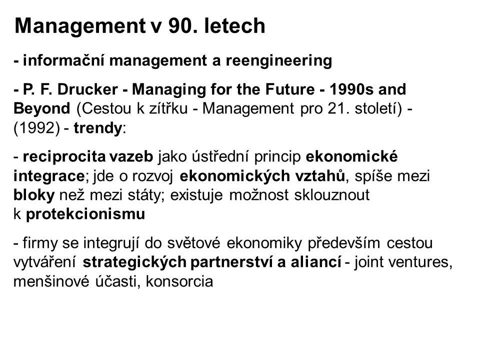 - informační management a reengineering - P. F. Drucker - Managing for the Future - 1990s and Beyond (Cestou k zítřku - Management pro 21. století) -