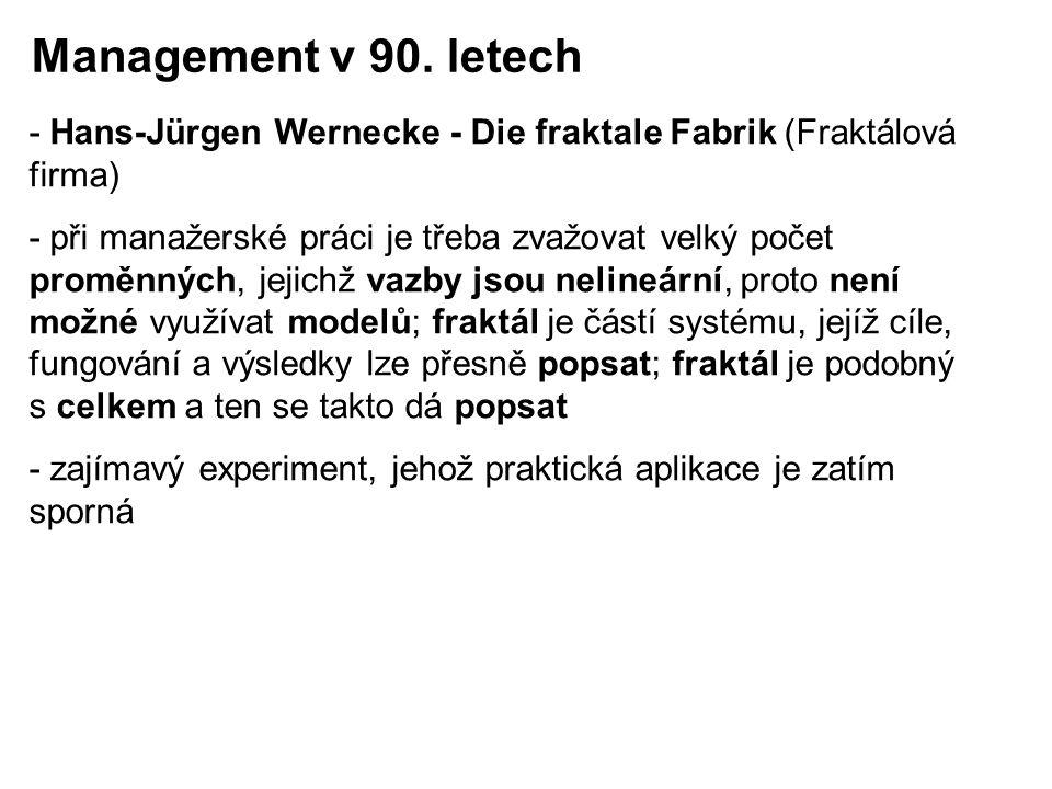 - Hans-Jürgen Wernecke - Die fraktale Fabrik (Fraktálová firma) - při manažerské práci je třeba zvažovat velký počet proměnných, jejichž vazby jsou ne