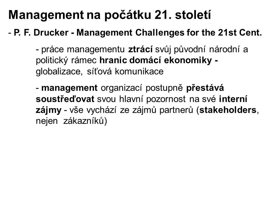Management na počátku 21. století - P. F. Drucker - Management Challenges for the 21st Cent. - práce managementu ztrácí svůj původní národní a politic