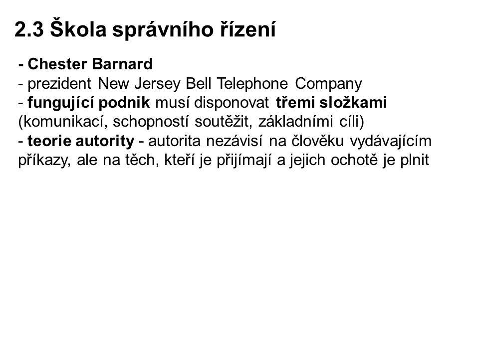 - Chester Barnard - prezident New Jersey Bell Telephone Company - fungující podnik musí disponovat třemi složkami (komunikací, schopností soutěžit, zá