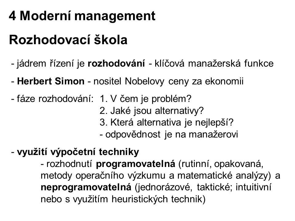 - jádrem řízení je rozhodování - klíčová manažerská funkce - Herbert Simon - nositel Nobelovy ceny za ekonomii - fáze rozhodování: 1. V čem je problém
