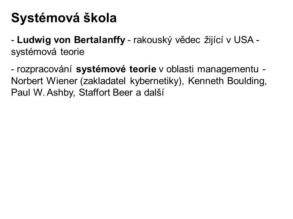 - Ludwig von Bertalanffy - rakouský vědec žijící v USA - systémová teorie - rozpracování systémové teorie v oblasti managementu - Norbert Wiener (zakl
