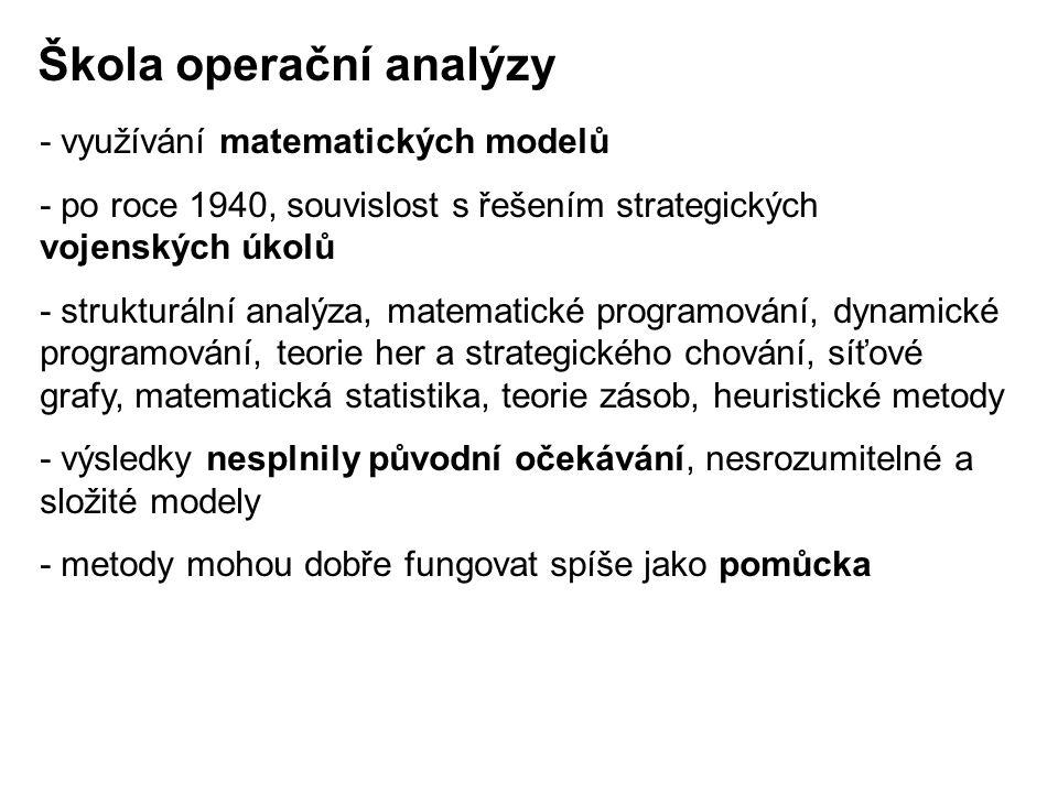 - využívání matematických modelů - po roce 1940, souvislost s řešením strategických vojenských úkolů - strukturální analýza, matematické programování,