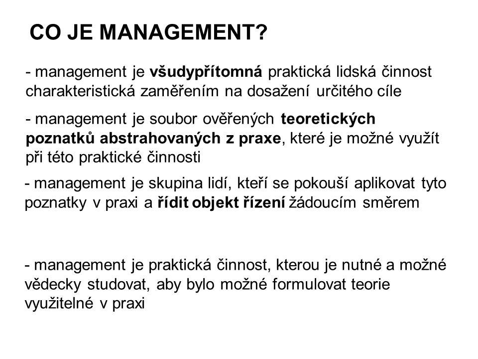CO JE MANAGEMENT? - management je všudypřítomná praktická lidská činnost charakteristická zaměřením na dosažení určitého cíle - management je soubor o