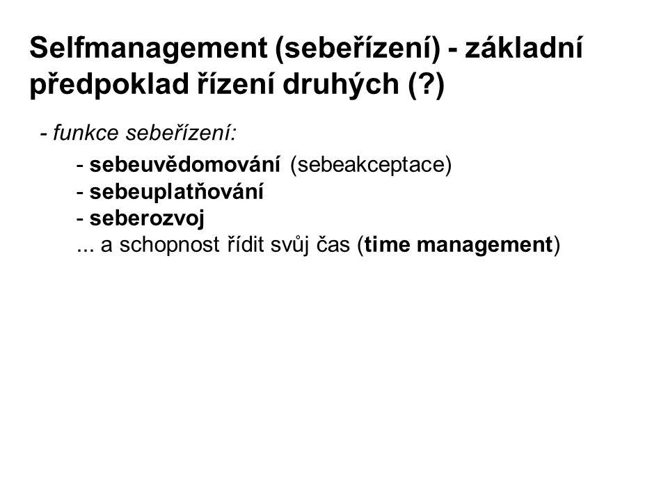 Selfmanagement (sebeřízení) - základní předpoklad řízení druhých (?) - funkce sebeřízení: - sebeuvědomování (sebeakceptace) - sebeuplatňování - sebero
