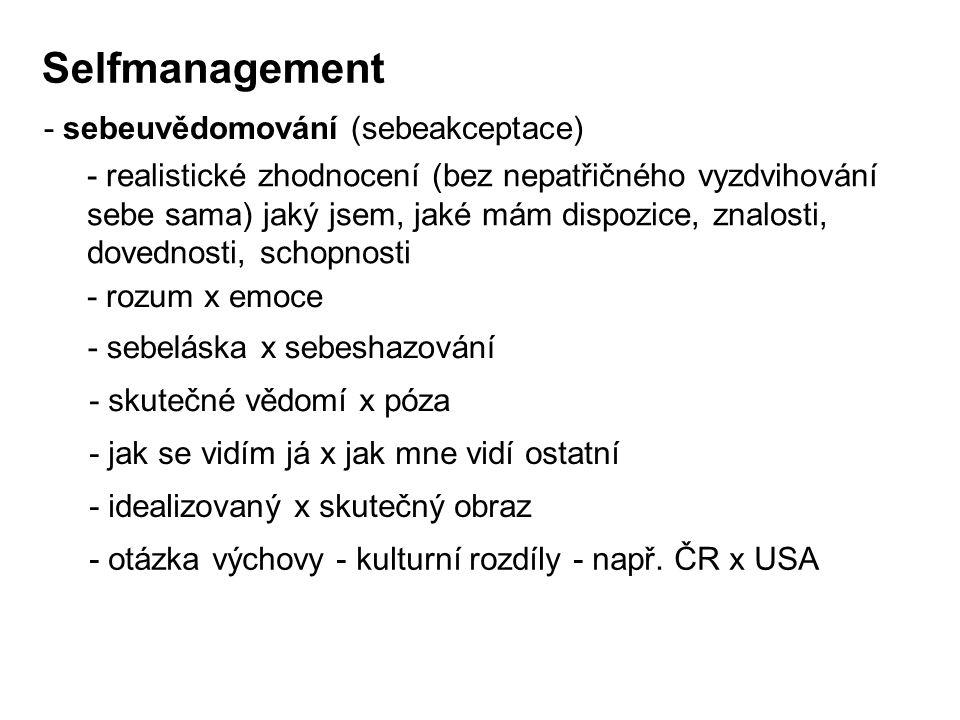 Selfmanagement - sebeuvědomování (sebeakceptace) - realistické zhodnocení (bez nepatřičného vyzdvihování sebe sama) jaký jsem, jaké mám dispozice, zna