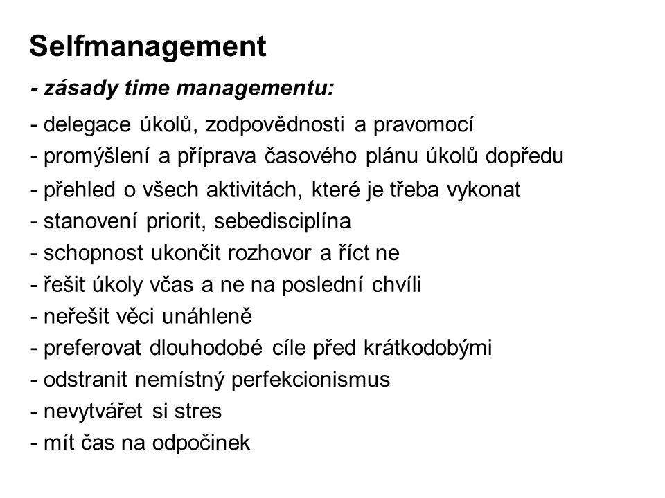 - promýšlení a příprava časového plánu úkolů dopředu Selfmanagement - zásady time managementu: - delegace úkolů, zodpovědnosti a pravomocí - přehled o
