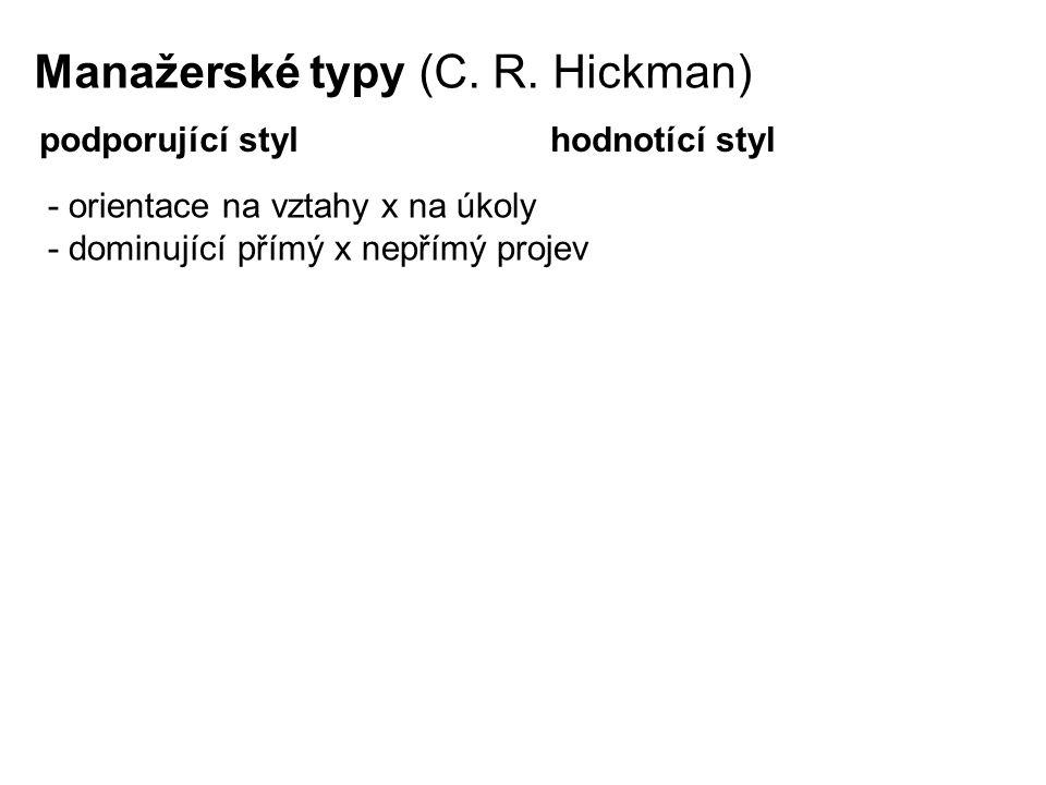 Manažerské typy (C. R. Hickman) podporující stylhodnotící styl - orientace na vztahy x na úkoly - dominující přímý x nepřímý projev