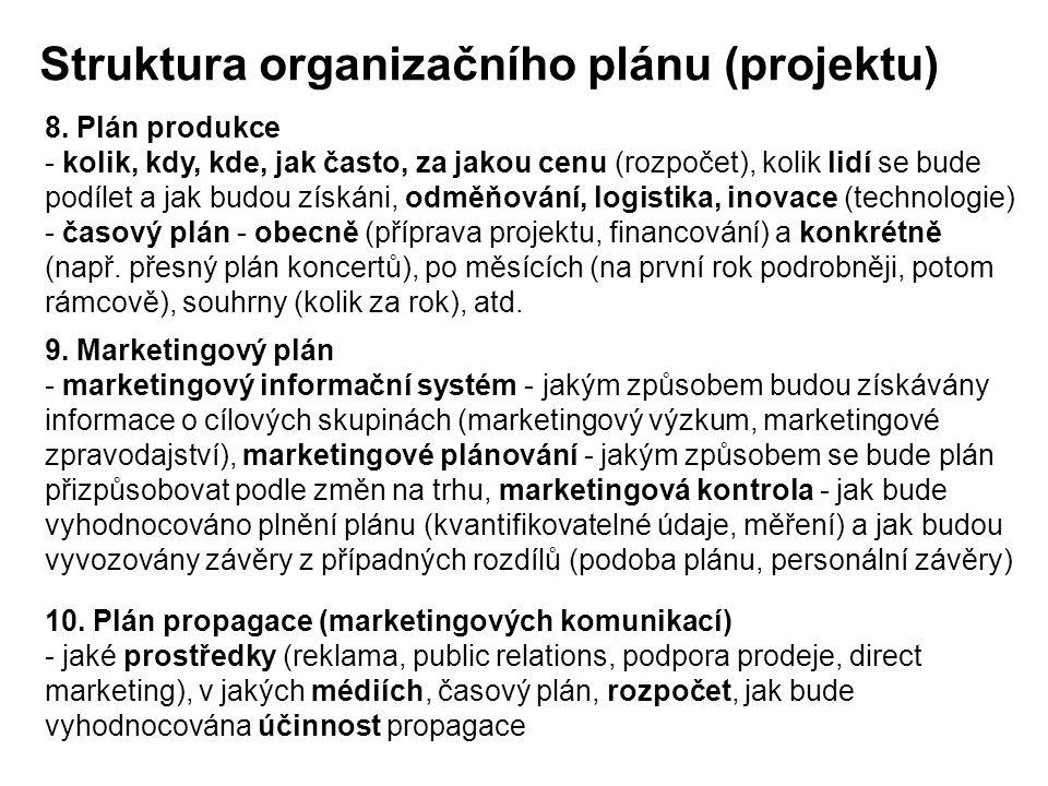 Struktura organizačního plánu (projektu) 8. Plán produkce - kolik, kdy, kde, jak často, za jakou cenu (rozpočet), kolik lidí se bude podílet a jak bud