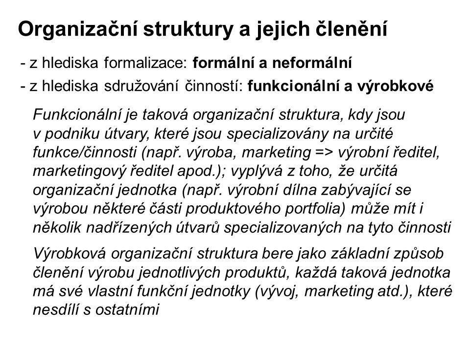 Organizační struktury a jejich členění - z hlediska formalizace: formální a neformální - z hlediska sdružování činností: funkcionální a výrobkové Funk