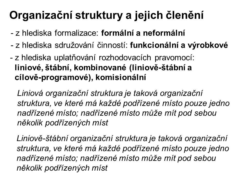 Organizační struktury a jejich členění - z hlediska formalizace: formální a neformální - z hlediska sdružování činností: funkcionální a výrobkové - z