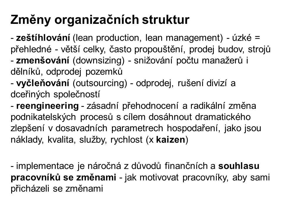 - zeštíhlování (lean production, lean management) - úzké = přehledné - větší celky, často propouštění, prodej budov, strojů - zmenšování (downsizing)