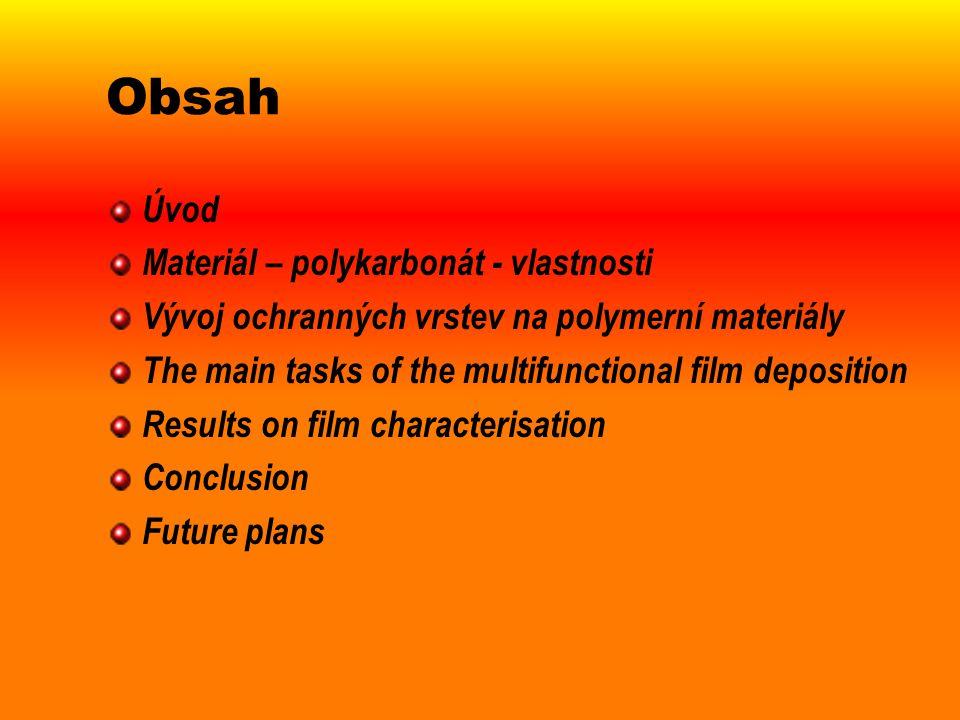 Obsah Úvod Materiál – polykarbonát - vlastnosti Vývoj ochranných vrstev na polymerní materiály The main tasks of the multifunctional film deposition R