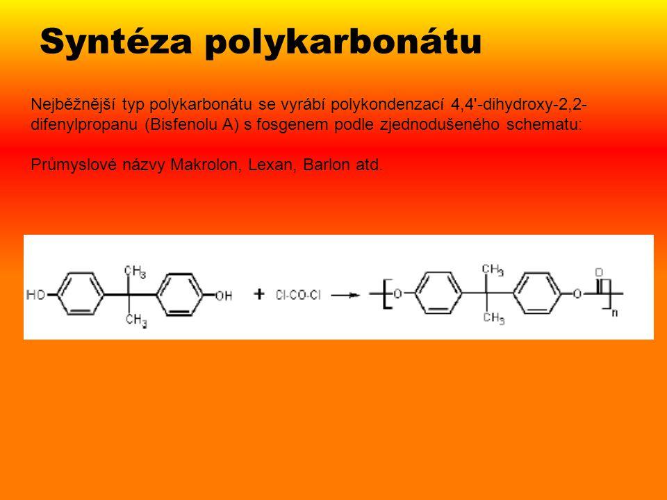 Nejběžnější typ polykarbonátu se vyrábí polykondenzací 4,4'-dihydroxy-2,2- difenylpropanu (Bisfenolu A) s fosgenem podle zjednodušeného schematu: Prům
