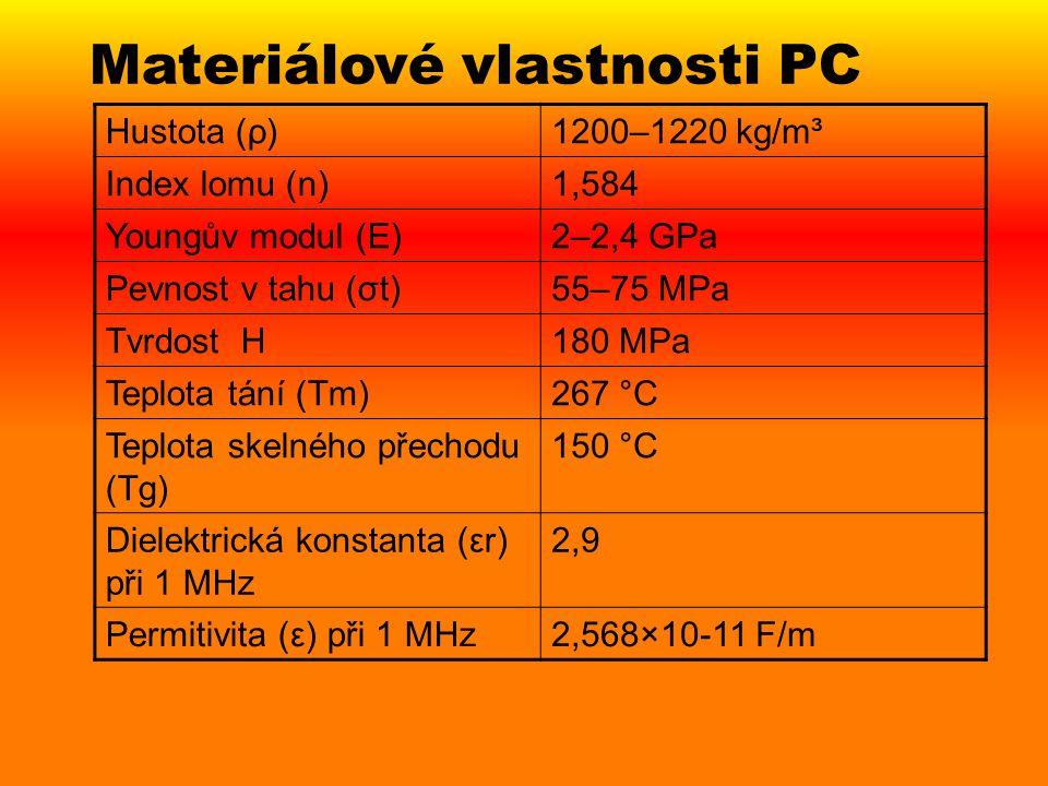 Výhody a nevýhody PC Lehký, pevný, rázuvzdorný, průhledný,čirý, málo hořlavý, dobře zpracovatelný, Propustné pro elektromagnetické záření nejen v oblasti viditelného světla, ale také pro část infračerveného světelného spektra Nízká volná povrchová energie Nízká tvrdost Nízká otěruvzdornost Nízká odolnost vůči působení chemikálií Degradace UV zářením