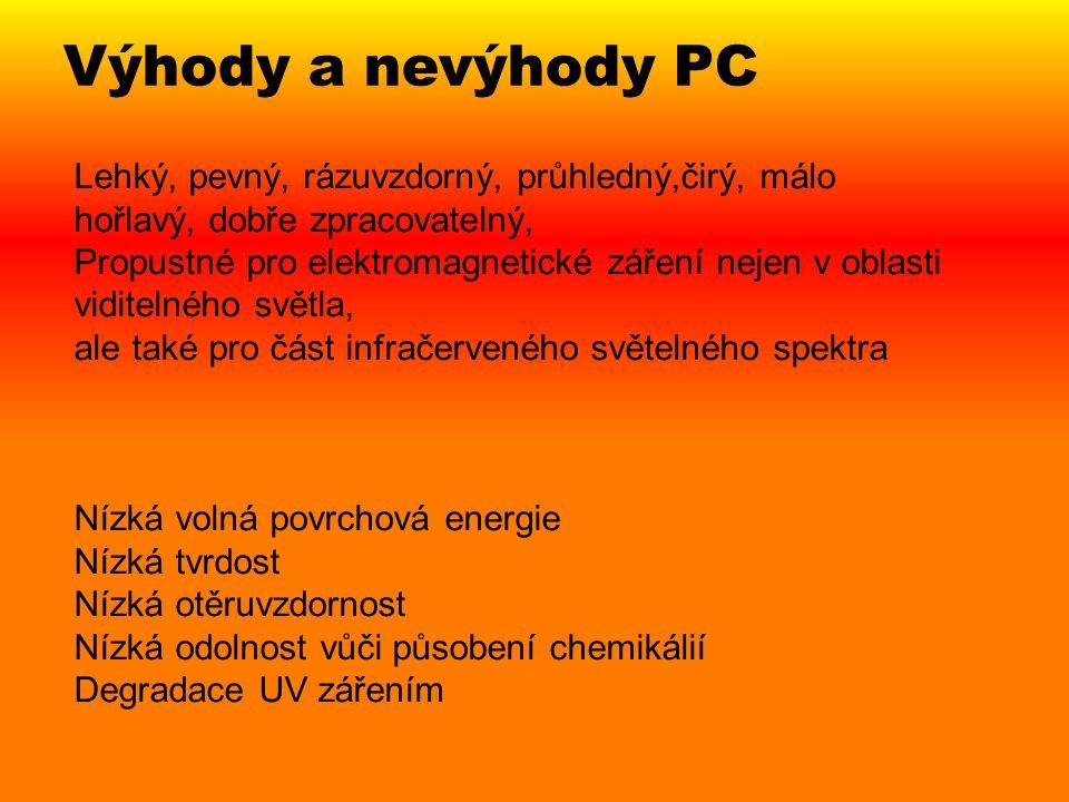 Výhody a nevýhody PC Lehký, pevný, rázuvzdorný, průhledný,čirý, málo hořlavý, dobře zpracovatelný, Propustné pro elektromagnetické záření nejen v obla