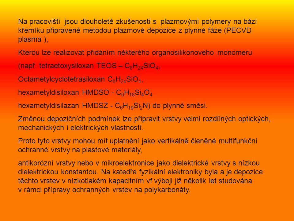 Odezva vrstvy SiO 1.8 C 0.7 H 2.0 na vtiskovou zkoušku.