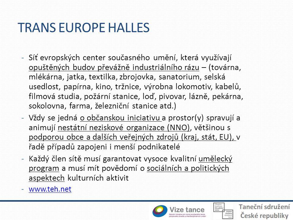 TRANS EUROPE HALLES -Síť evropských center současného umění, která využívají opuštěných budov převážně industriálního rázu – (továrna, mlékárna, jatka, textilka, zbrojovka, sanatorium, selská usedlost, papírna, kino, tržnice, výrobna lokomotiv, kabelů, filmová studia, požární stanice, loď, pivovar, lázně, pekárna, sokolovna, farma, železniční stanice atd.) -Vždy se jedná o občanskou iniciativu a prostor(y) spravují a animují nestátní neziskové organizace (NNO), většinou s podporou obce a dalších veřejných zdrojů (kraj, stát, EU), v řadě případů zapojeni i menší podnikatelé -Každý člen sítě musí garantovat vysoce kvalitní umělecký program a musí mít povědomí o sociálních a politických aspektech kulturních aktivit -www.teh.netwww.teh.net