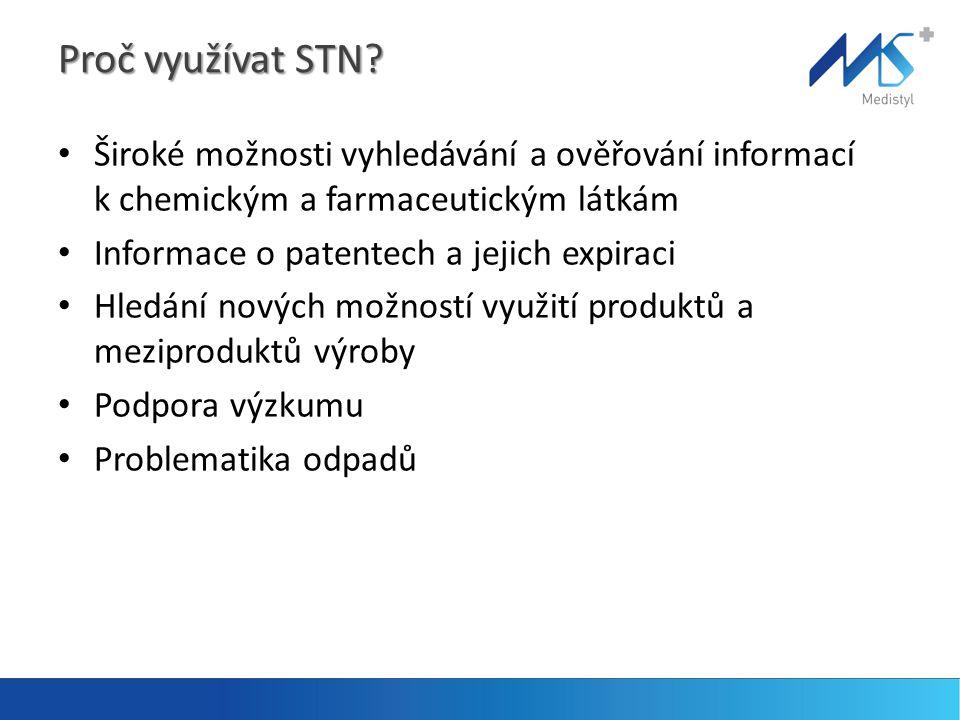 Proč využívat STN? • Široké možnosti vyhledávání a ověřování informací k chemickým a farmaceutickým látkám • Informace o patentech a jejich expiraci •