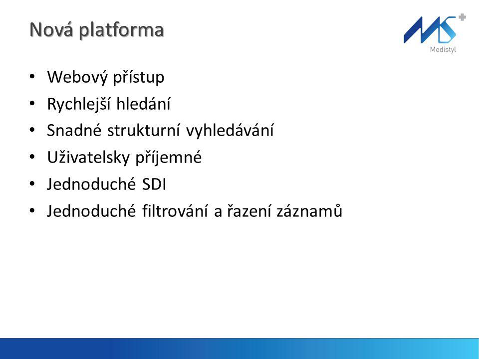 Nová platforma • Webový přístup • Rychlejší hledání • Snadné strukturní vyhledávání • Uživatelsky příjemné • Jednoduché SDI • Jednoduché filtrování a