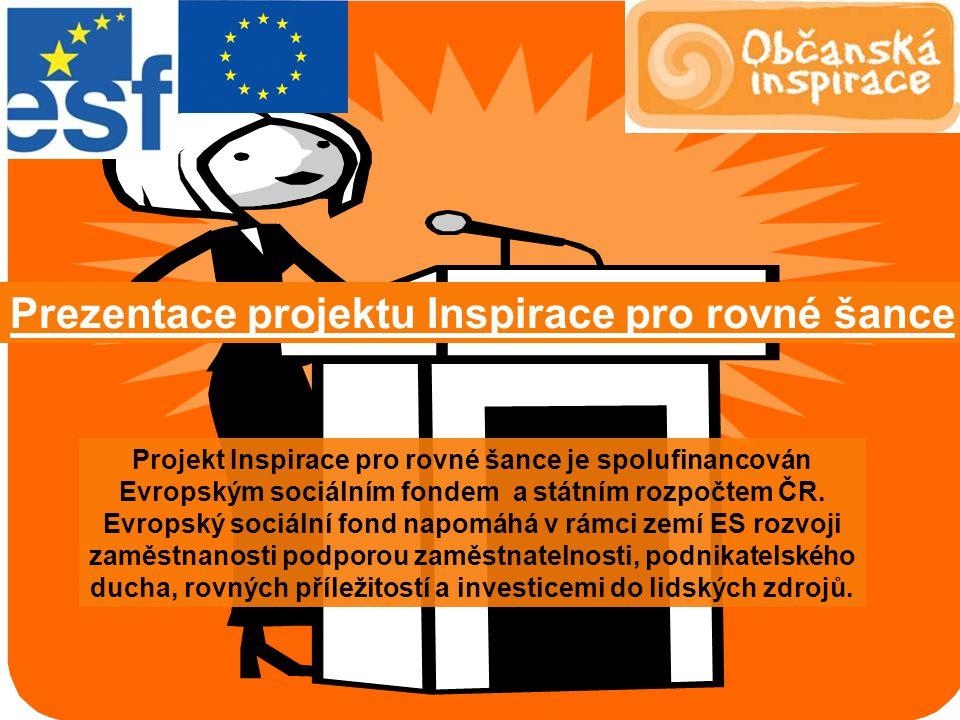 Projekt Inspirace pro rovné šance je spolufinancován Evropským sociálním fondem a státním rozpočtem ČR.