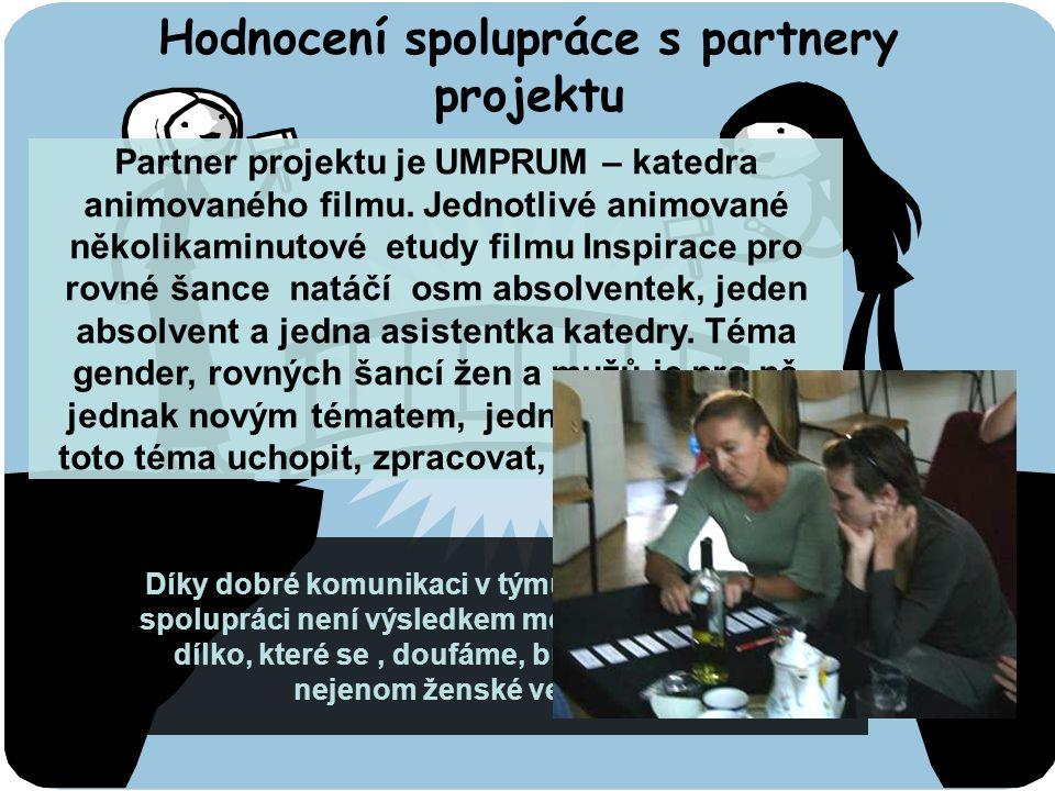 Hodnocení spolupráce s partnery projektu Partner projektu je UMPRUM – katedra animovaného filmu.
