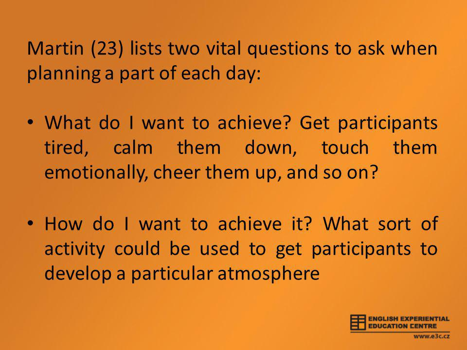 Martin (23) lists two vital questions to ask when planning a part of each day: • What do I want to achieve.