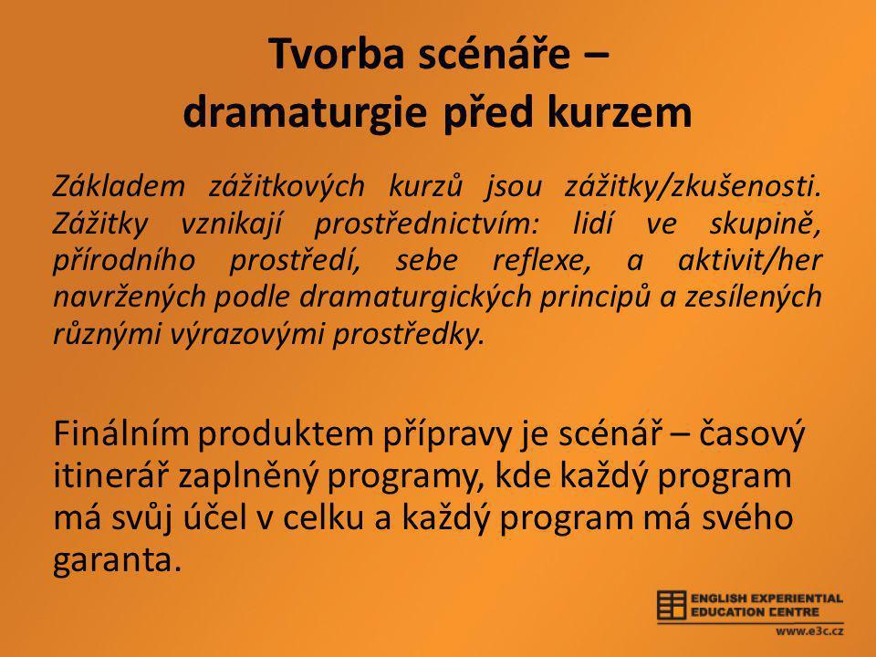 Tvorba scénáře – dramaturgie před kurzem Základem zážitkových kurzů jsou zážitky/zkušenosti.