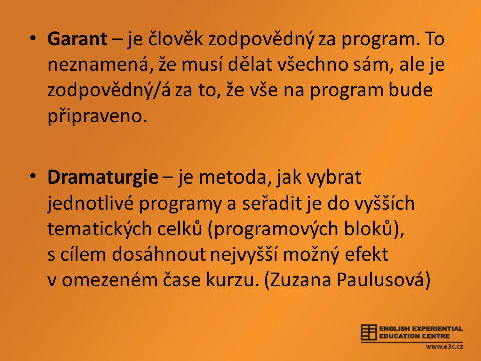 • Garant – je člověk zodpovědný za program.