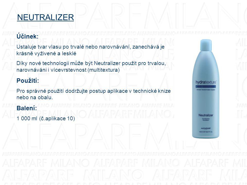NEUTRALIZER Účinek: Ustaluje tvar vlasu po trvalé nebo narovnávání, zanechává je krásně vyživené a lesklé Díky nové technologii může být Neutralizer p