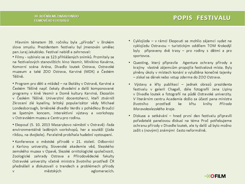 """39. ROČNÍK MEZINÁRODNÍHO FILMOVÉHO FESTIVALU Hlavním tématem 39. ročníku byla """"příroda"""" v širokém slova smyslu. Prezidentem festivalu byl jmenován umě"""