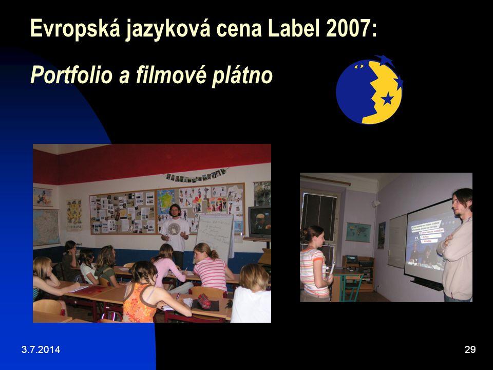 Evropská jazyková cena Label 2007: Portfolio a filmové plátno 3.7.201429