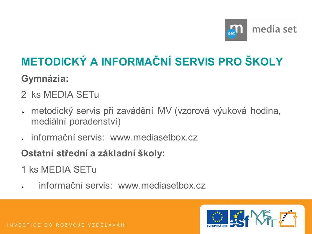 14 METODICKÝ A INFORMAČNÍ SERVIS PRO ŠKOLY Gymnázia: 2 ks MEDIA SETu  metodický servis při zavádění MV (vzorová výuková hodina, mediální poradenství)
