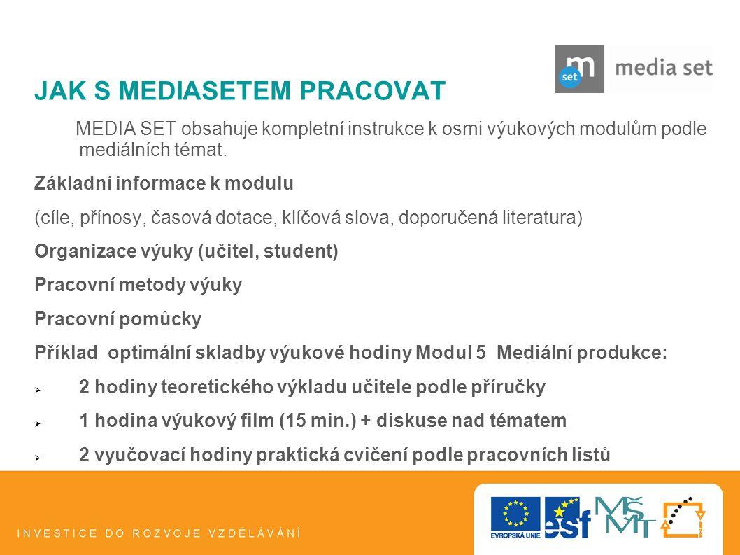 6 JAK S MEDIASETEM PRACOVAT MEDIA SET obsahuje kompletní instrukce k osmi výukových modulům podle mediálních témat. Základní informace k modulu (cíle,