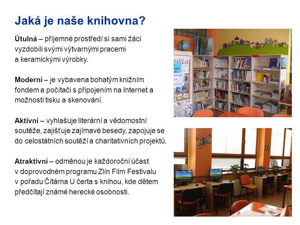 Jaká je naše knihovna? Útulná – příjemné prostředí si sami žáci vyzdobili svými výtvarnými pracemi a keramickými výrobky. Moderní – je vybavena bohatý