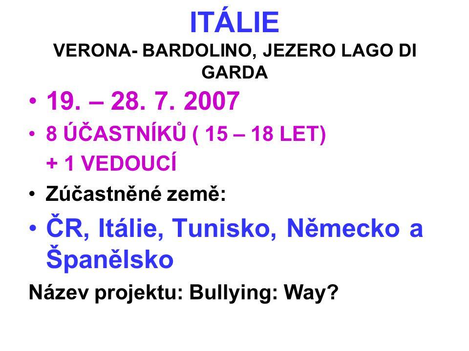 ITÁLIE VERONA- BARDOLINO, JEZERO LAGO DI GARDA •19. – 28. 7. 2007 •8 ÚČASTNÍKŮ ( 15 – 18 LET) + 1 VEDOUCÍ •Zúčastněné země: •ČR, Itálie, Tunisko, Něme