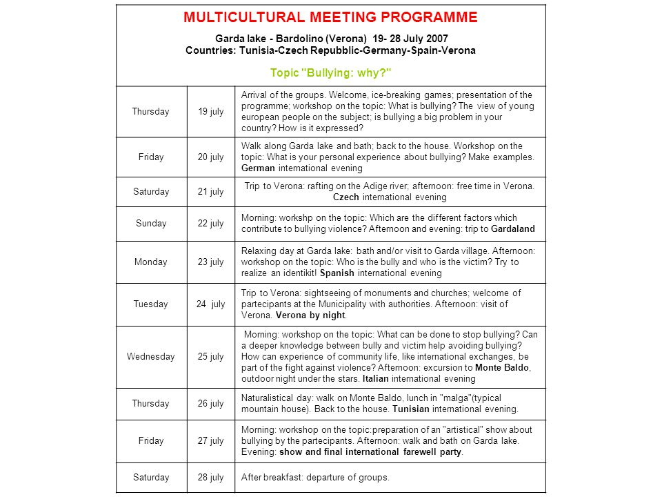 MULTICULTURAL MEETING PROGRAMME Garda lake - Bardolino (Verona) 19- 28 July 2007 Countries: Tunisia-Czech Repubblic-Germany-Spain-Verona Topic Bullying: why Thursday19 july Arrival of the groups.