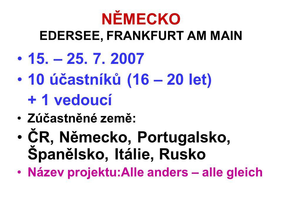 NĚMECKO EDERSEE, FRANKFURT AM MAIN •15. – 25. 7. 2007 •10 účastníků (16 – 20 let) + 1 vedoucí •Zúčastněné země: •ČR, Německo, Portugalsko, Španělsko,