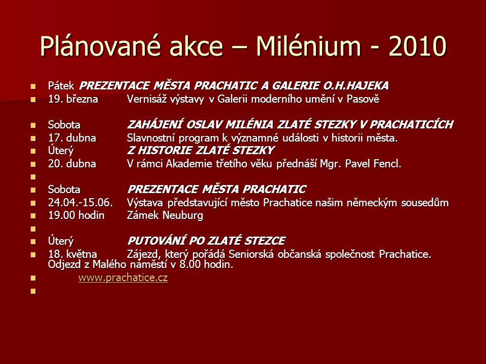 Plánované akce – Milénium - 2010  PátekPREZENTACE MĚSTA PRACHATIC A GALERIE O.H.HAJEKA  19. březnaVernisáž výstavy v Galerii moderního umění v Pasov