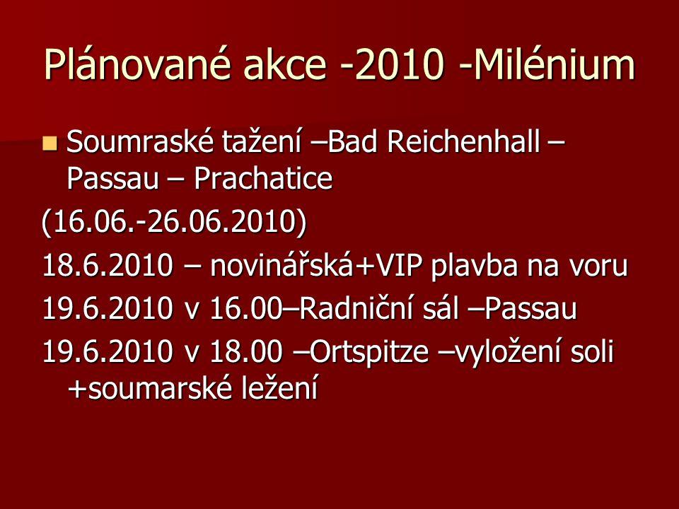 Plánované akce -2010 -Milénium  Soumraské tažení –Bad Reichenhall – Passau – Prachatice (16.06.-26.06.2010) 18.6.2010 – novinářská+VIP plavba na voru