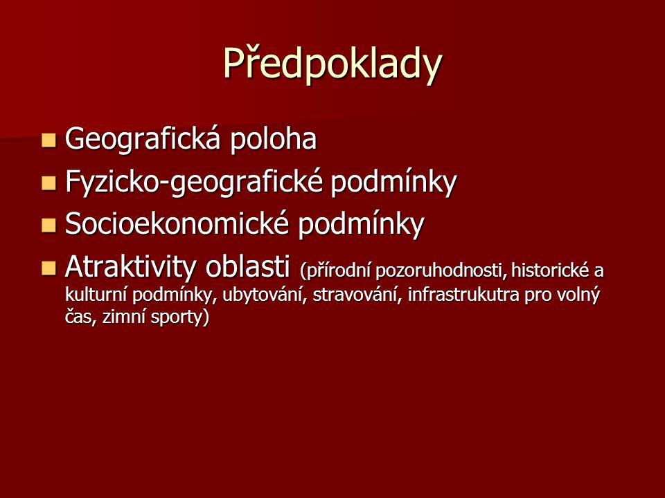 Předpoklady  Geografická poloha  Fyzicko-geografické podmínky  Socioekonomické podmínky  Atraktivity oblasti (přírodní pozoruhodnosti, historické