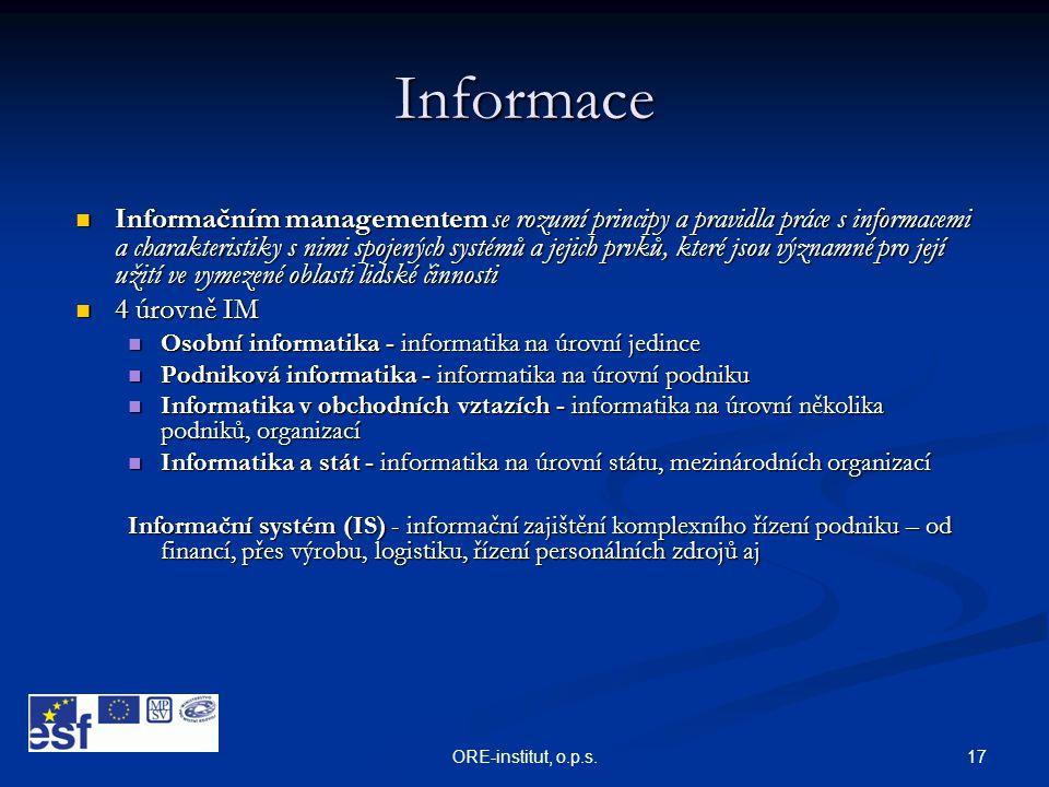 17ORE-institut, o.p.s. Informace  Informačním managementem se rozumí principy a pravidla práce s informacemi a charakteristiky s nimi spojených systé