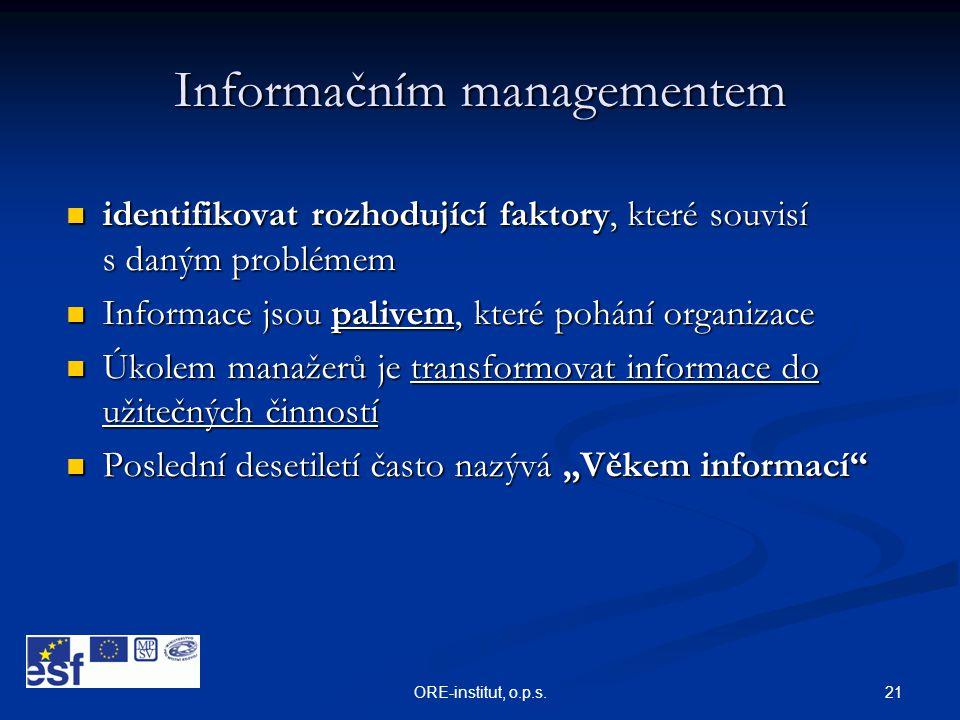 21ORE-institut, o.p.s. Informačním managementem  identifikovat rozhodující faktory, které souvisí s daným problémem  Informace jsou palivem, které p