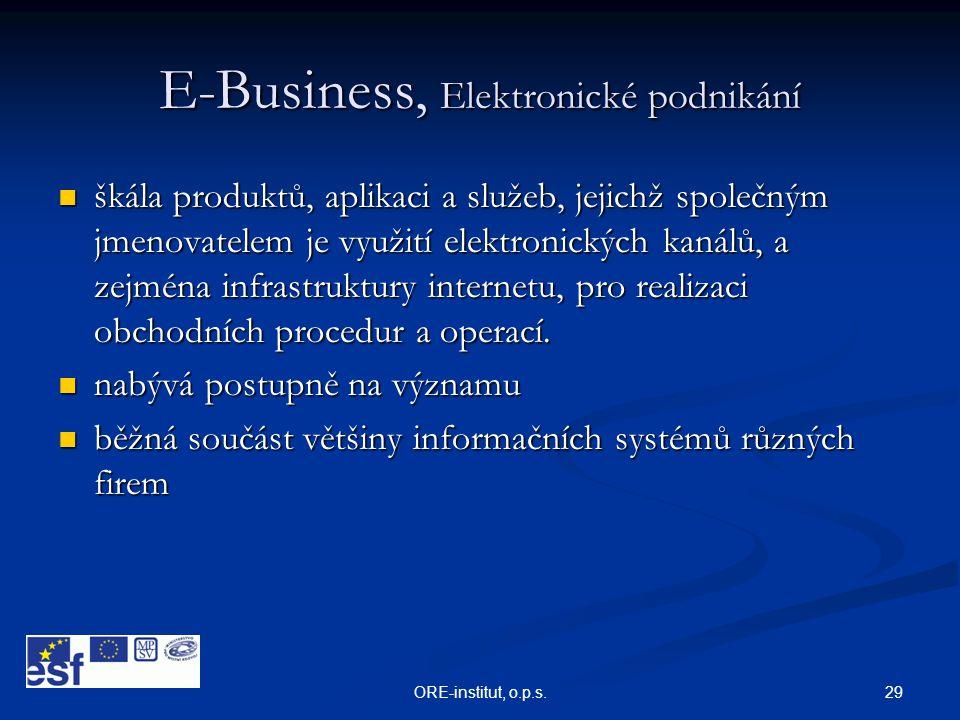 29ORE-institut, o.p.s. E-Business, Elektronické podnikání  škála produktů, aplikaci a služeb, jejichž společným jmenovatelem je využití elektronickýc