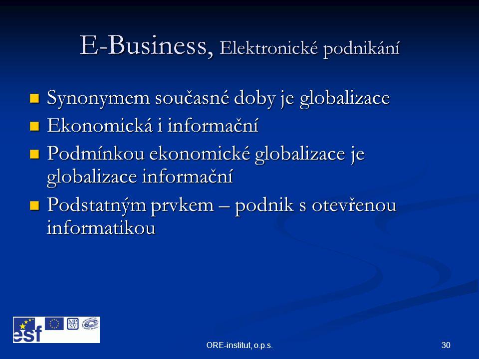 30ORE-institut, o.p.s. E-Business, Elektronické podnikání  Synonymem současné doby je globalizace  Ekonomická i informační  Podmínkou ekonomické gl