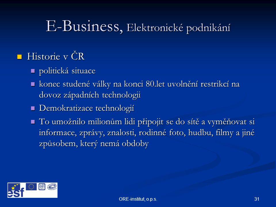 31ORE-institut, o.p.s. E-Business, Elektronické podnikání  Historie v ČR  politická situace  konec studené války na konci 80.let uvolnění restrikcí