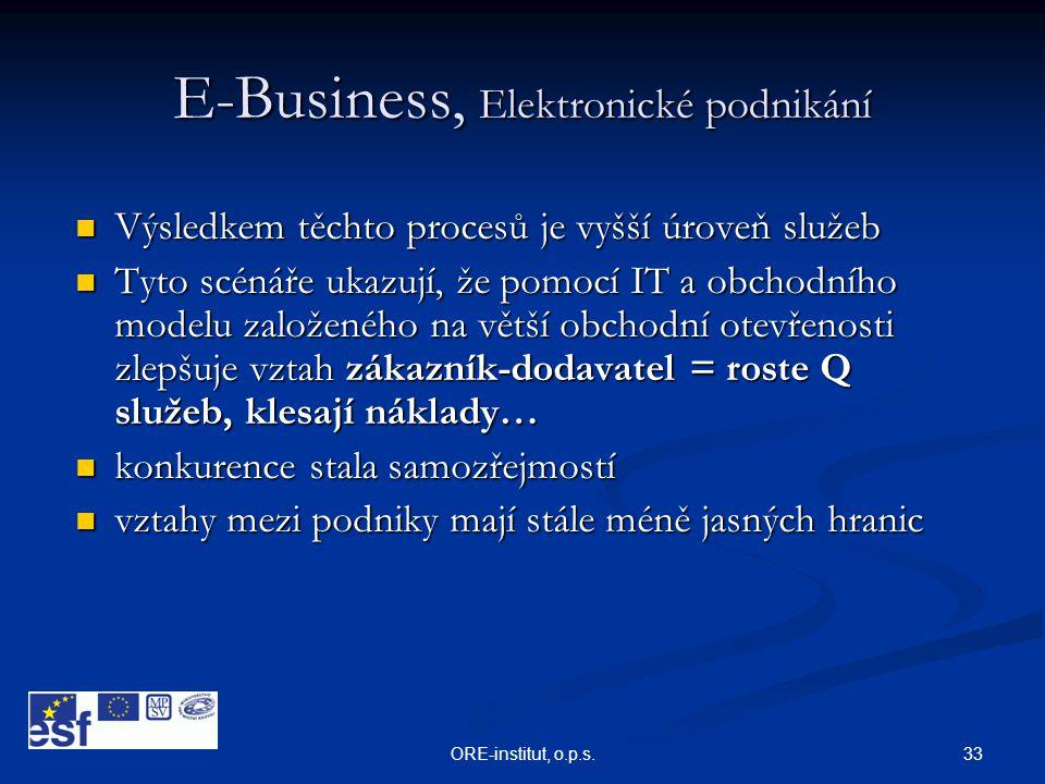 33ORE-institut, o.p.s. E-Business, Elektronické podnikání  Výsledkem těchto procesů je vyšší úroveň služeb  Tyto scénáře ukazují, že pomocí IT a obc